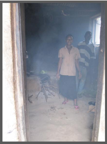 The families old, smokey kitchen