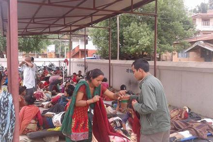 People receive treatment at Trishuli Hospital in Nuwakot District.