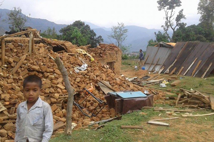 Heifer is working to provide food, water and temporary shelters for the families in Nuwakot, like the one above, who lost their homes and animals in the recent earthquake.