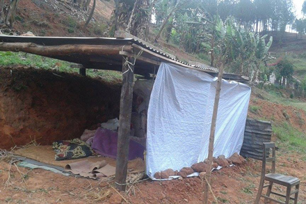 A project participant's temporary shelter.