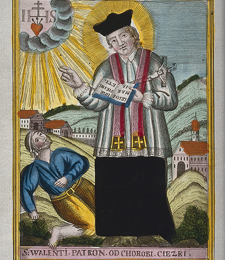 In addition to love and honeybees, Saint Valentine is the patron saint of epilepsy. He is shown here blessing someone having an epileptic seizure.