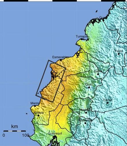 Shake map via USGS