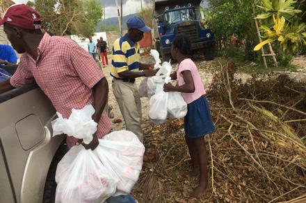 Heifer staff distribute food kits.