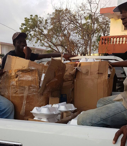 Food packets were loaded into trucks and distributed throughout the southern area of Haiti Monday and Tuesday.