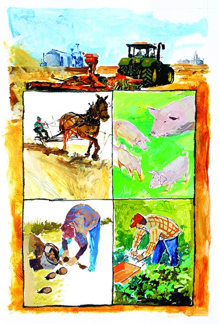 Painting of farm scenes.
