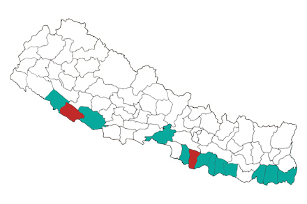 A map of the districts affected by flooding.