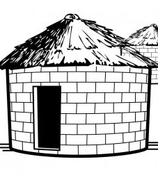 An illustration of a small house made from adobe bricks.