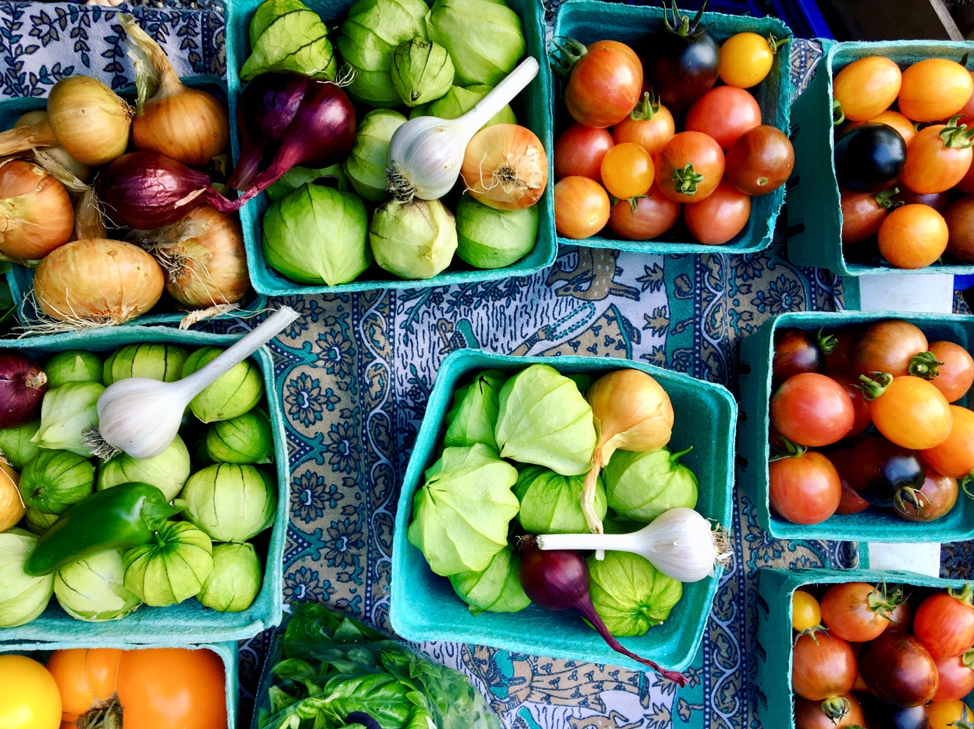 Various vegetables spread out on a table.