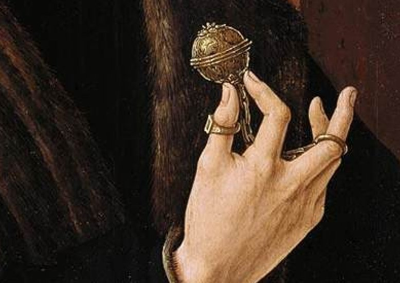 Painting of a hand holding a medieval pomander.
