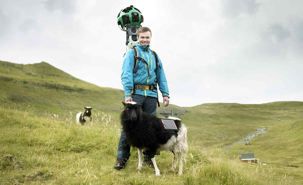 A trekker with Google's Street View camera poses with his Sheep View 360 counterpart.