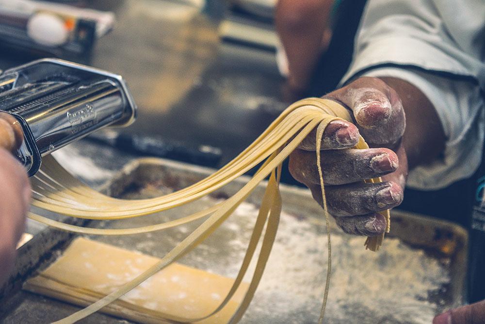 Fresh pasta being made.