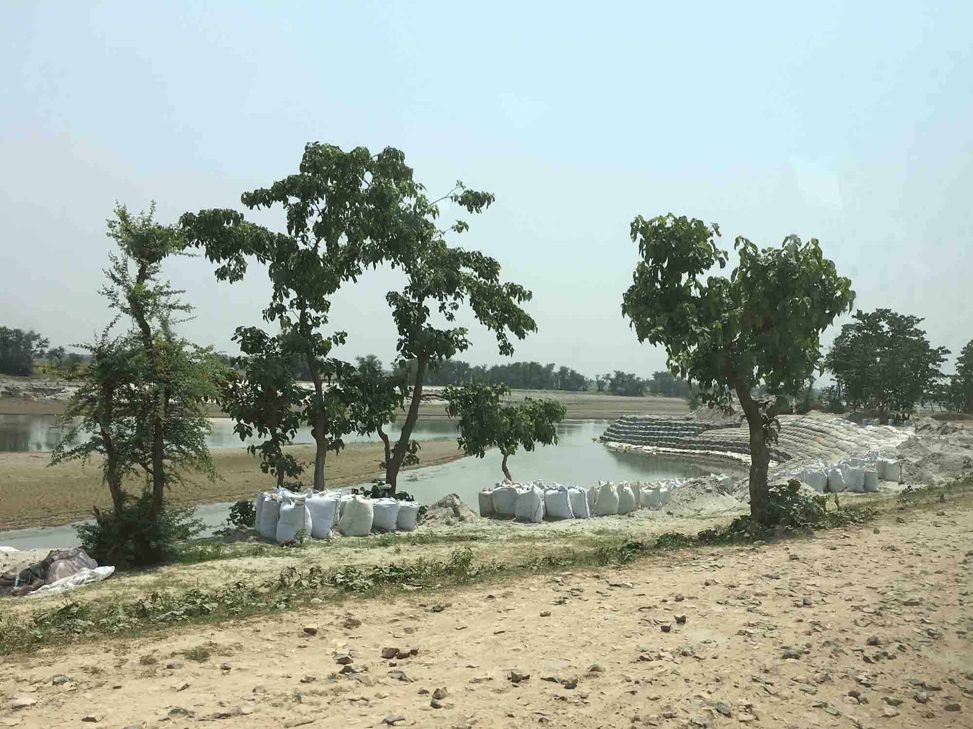 Sandbags line the banks of the Kosi river and its tributaries in anticipation of monsoon season.