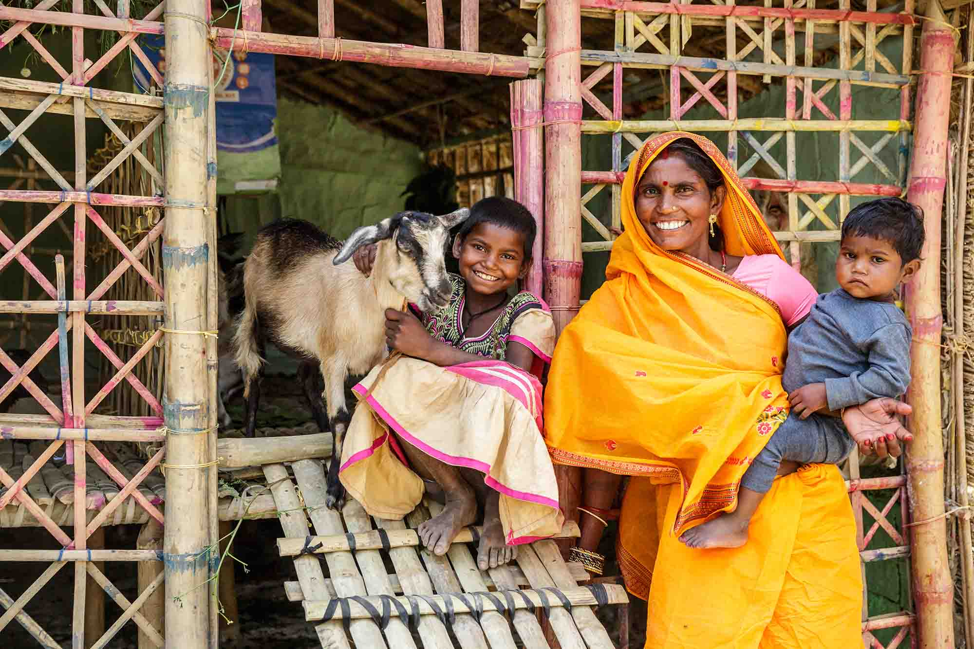 Sharada Devi, 48, and her daughters Nirmal Kumar, 8, and Manisha Kumar, 2, next to their family's goat pen.