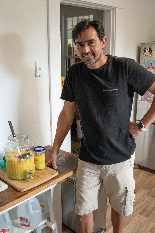César Bordón poses with his homemade clericó.