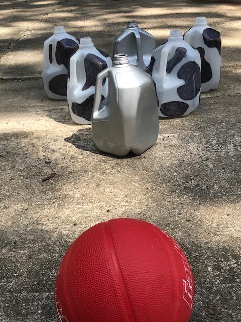 Milk jug bowling set.
