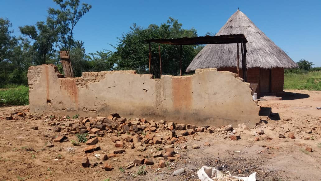 A partial wall is all that remains of the Soroti family's home.