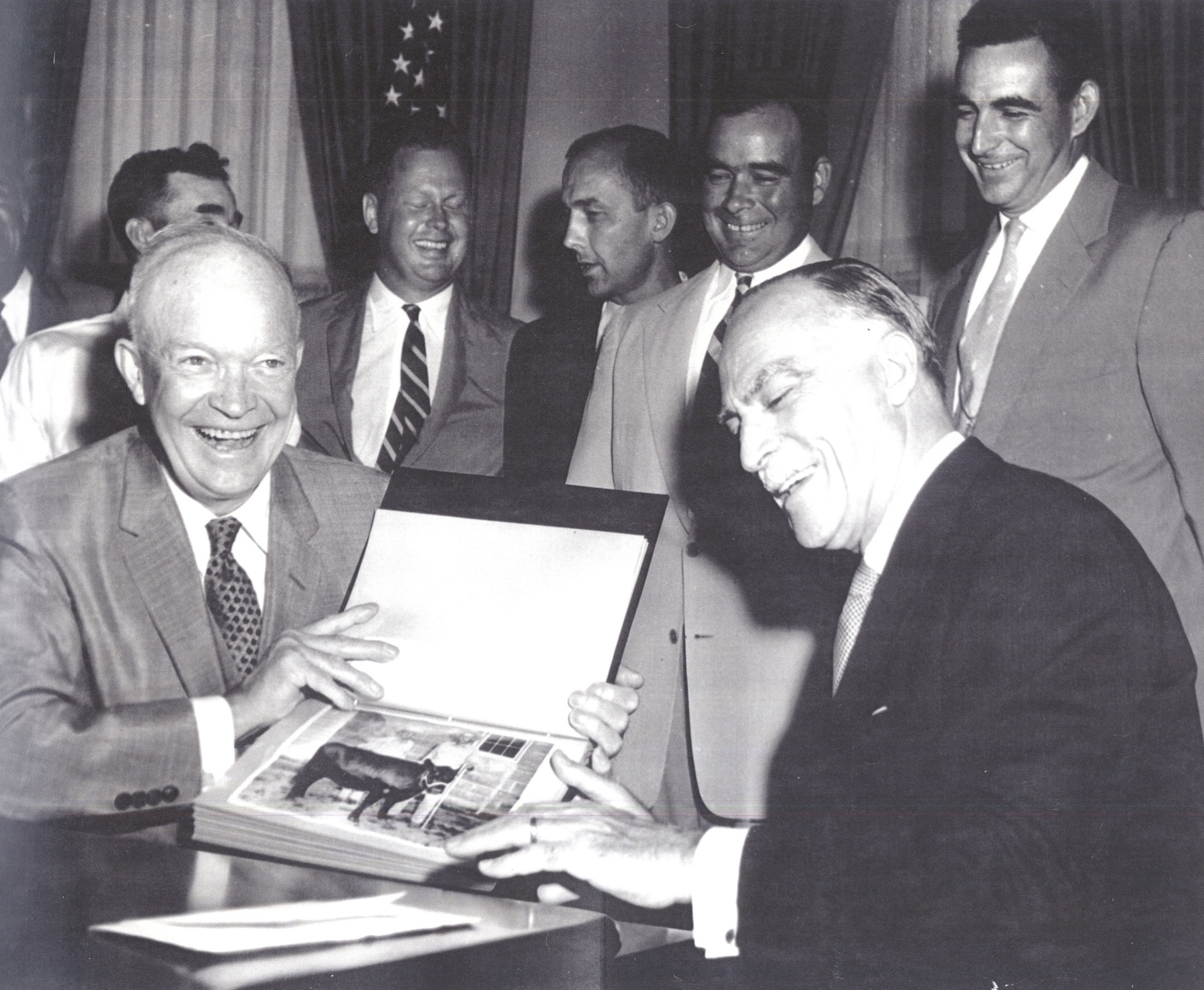 President Eisenhower celebrates donating to Heifer in 1957.