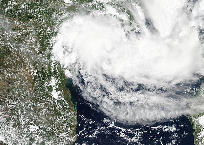 Satellite image of Cyclone Idai bearing down on south eastern Africa.