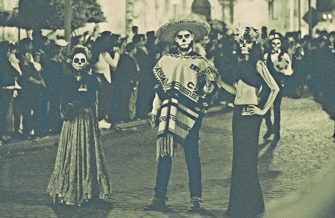 Day of the Dea revelers in Yurira, Mexico.
