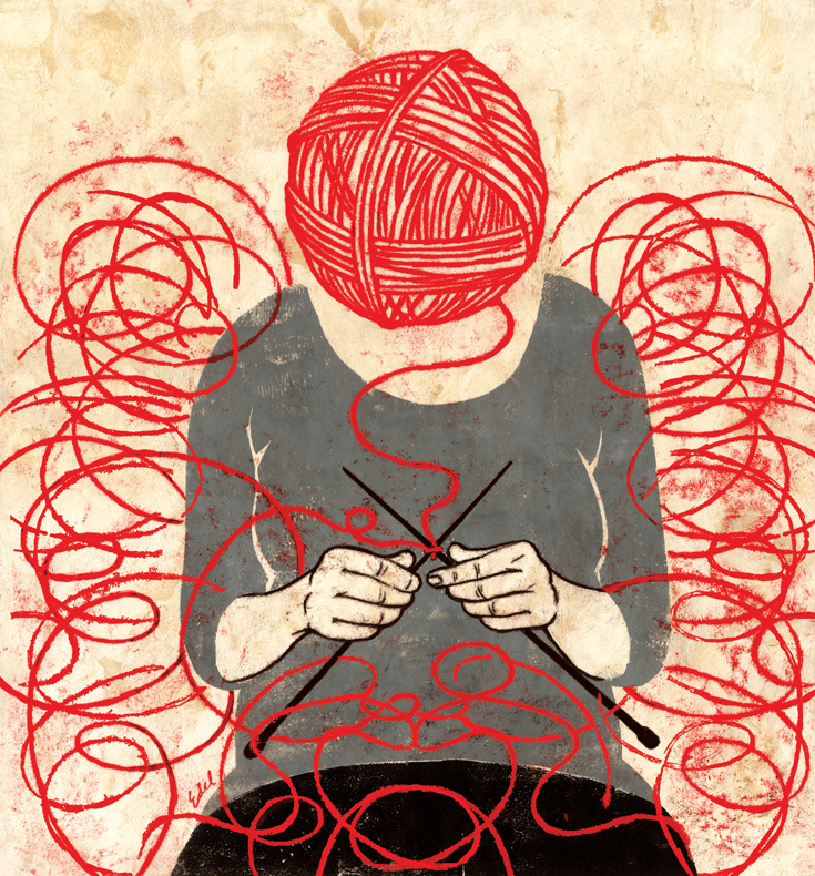 An illustration of a person sitting crossed-legged and knitting, with a red yarn ball for a head.