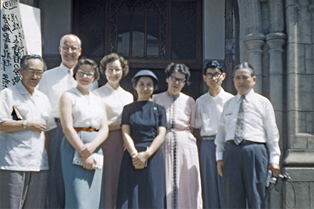 Donald and Kathy Baldwin pose with members of the Union Church in Japan.