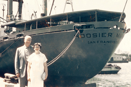The Rev. Donald Baldwin and his daughter, Kathy Baldwin (now Moore), depart from San Francisco on July 22, 1958.