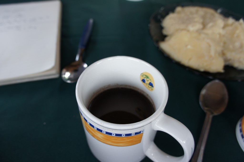 The final product--a hot cup of chocolate. Photo by Jason Woods, courtesy of Heifer International.