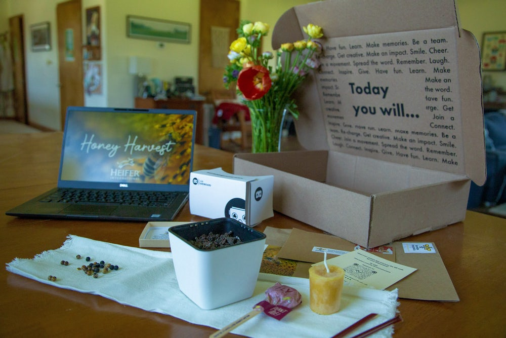 Opened box displaying the contents of the Honey Harvest partnership