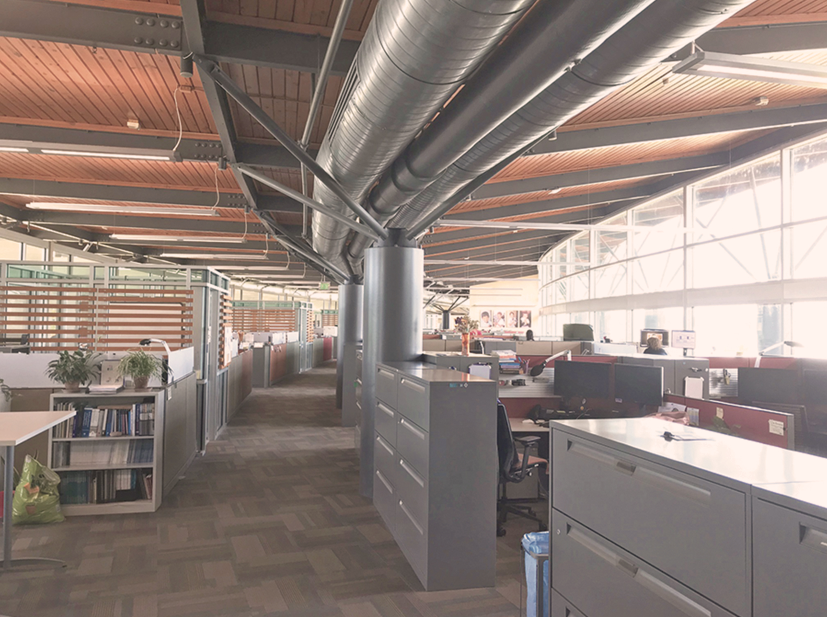 The works areas at Heifer Headquarters follow the curve of the building, which has exposed ceilings. This section has windows on the right with several rows of cubicles and filing cabinets that line the walkway.