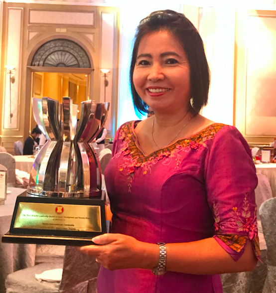 """Keang Keo, Country Director for Heifer International in Cambodia, received the """"Leadership Award for Rural Development and Poverty Eradication"""" from the Association of Southeast Asian Nations at a recent ceremony in Kuala Lumpur."""
