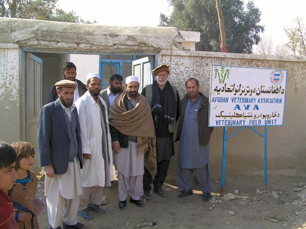 David Sherman visiting a veterinary field unit operated by the Afghanistan Veterinary Association in Nangarhar Province along with officers of the Association.