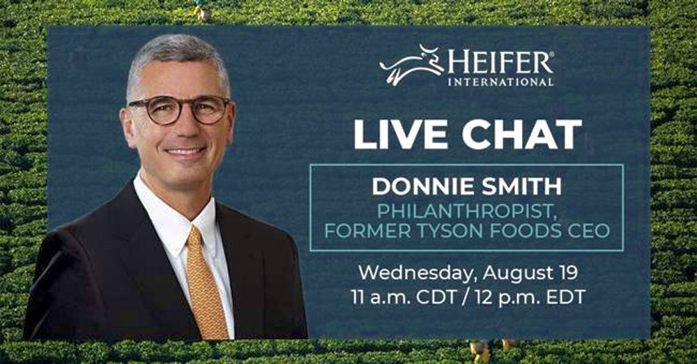 A graphic with Donnie Smith's picture and info for his HeiferTogether chat info