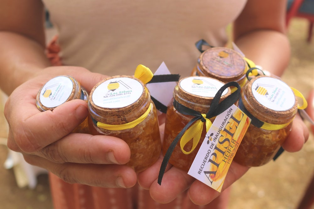 A pair of hands holds jars of fresh Honduran honey.