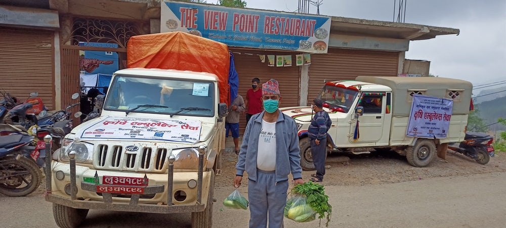 During COVID-19, Heifer Nepal repurposed its pickup trucks to work as agri-ambulances to deliver necessary food items to consumers.