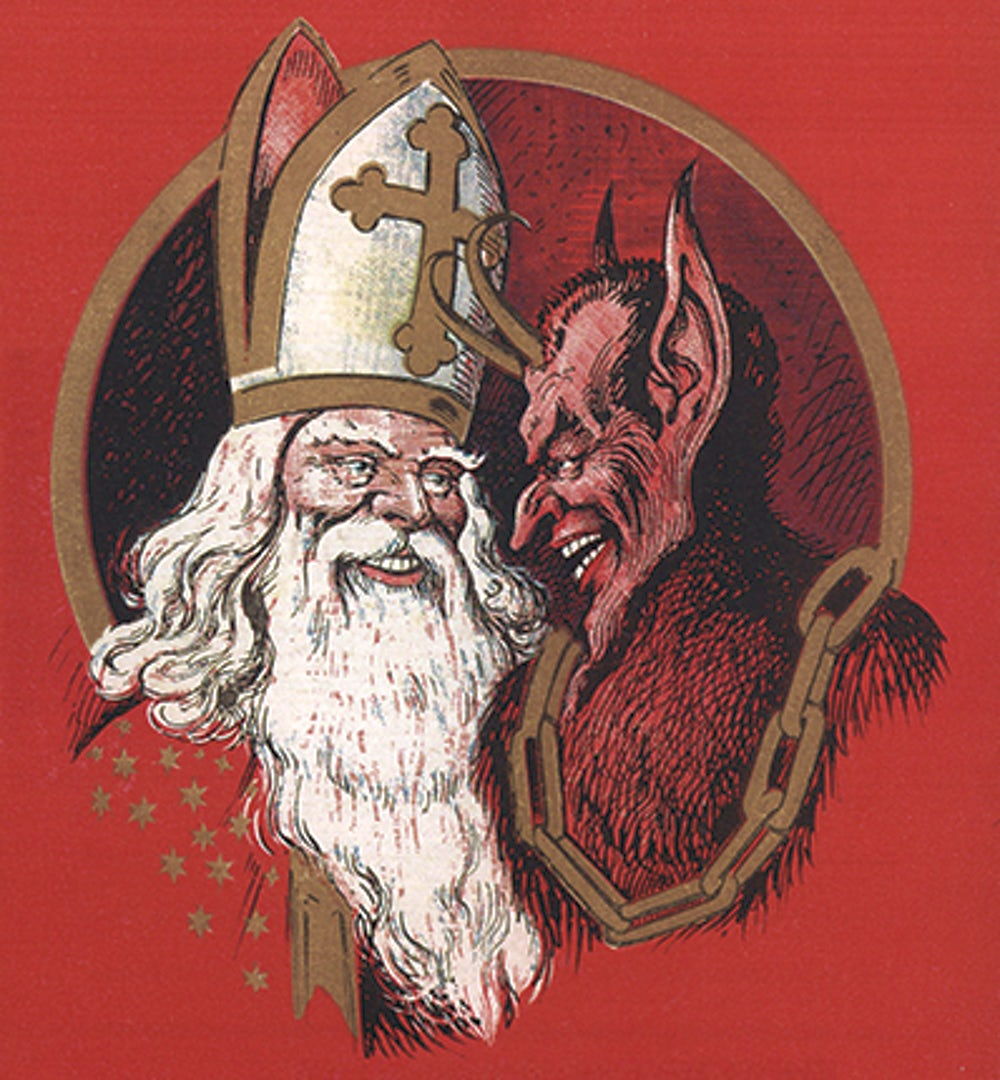 An illustration of Saint Nicholas and Krampus grinning at each other.