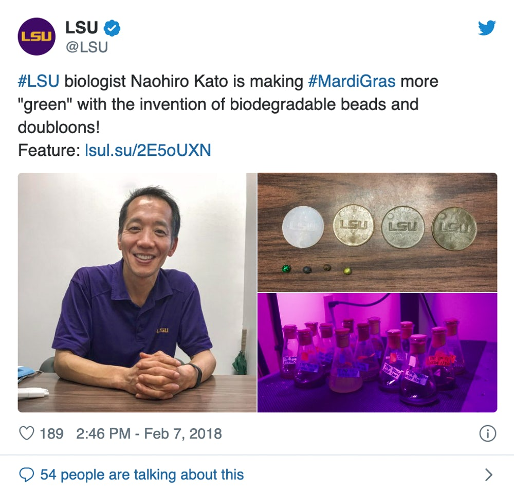 Screenshot of instagram post of Naohiro Kato and his biodegradable doubloons.