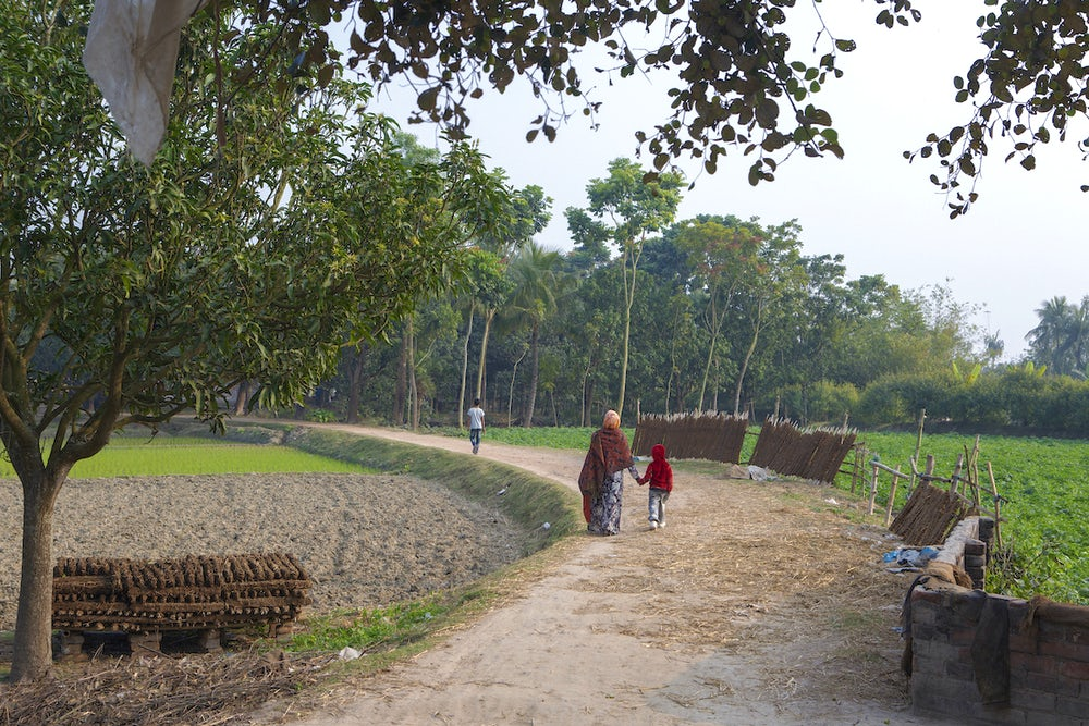 A woman and a small child walk down a dirt road away from the camera. The woman is wearing a bright red sari.