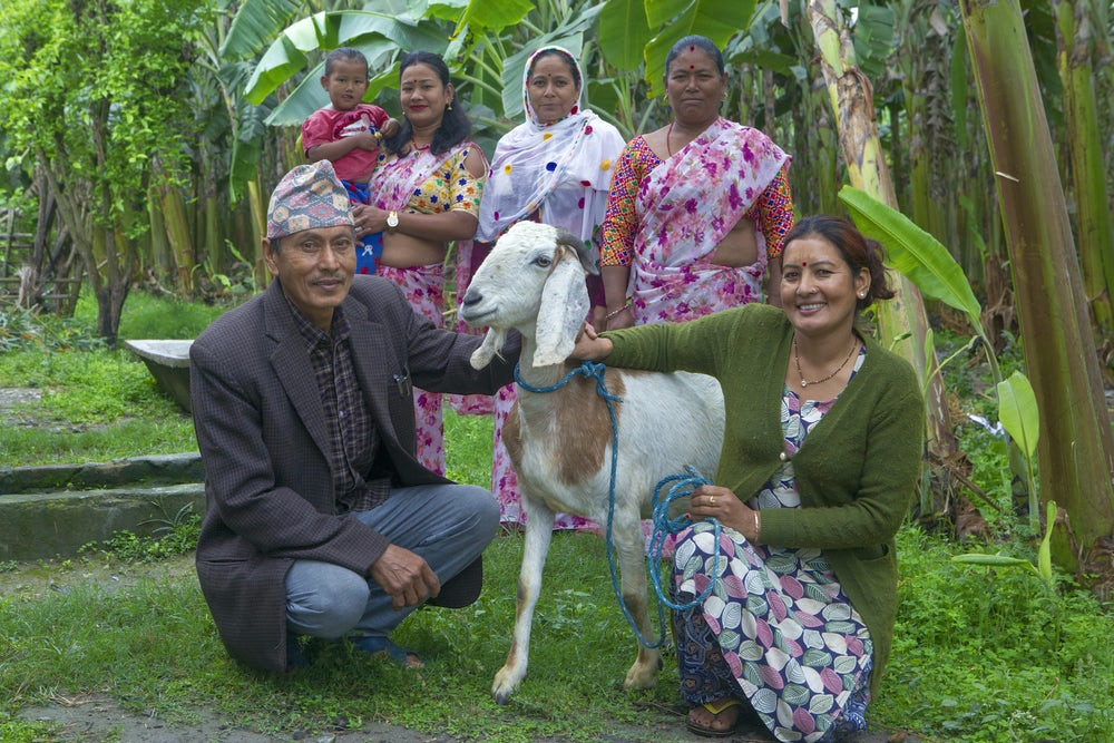 A woman and man crouch next to their goat. Four women stand behind them, smiling.