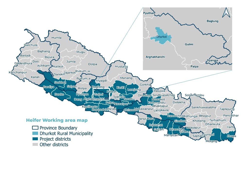 A map of Nepal highlighting the 24 municipalities in which this subsidy model has been implemented.