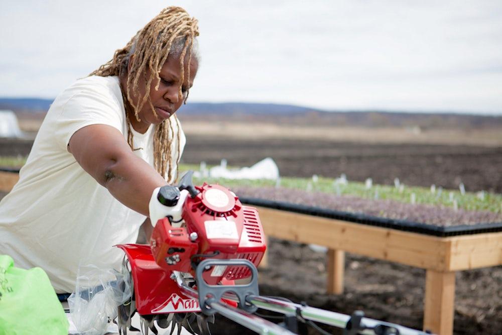 A woman farmer uses a tool to cut wood.