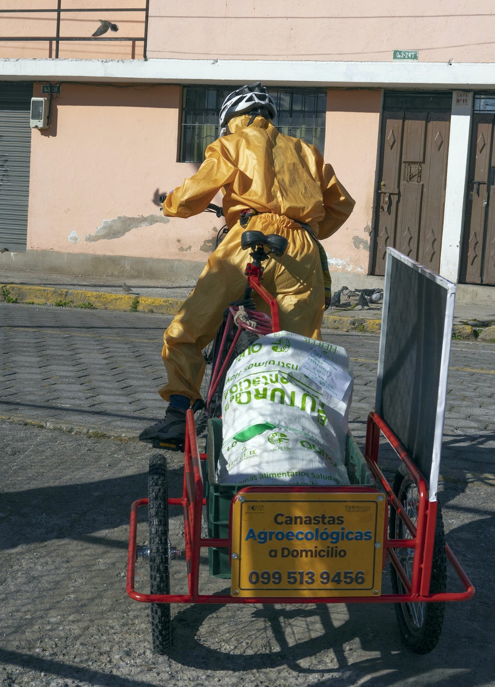 A man in wearing protective equipment delivers bags of produce by bicycle.