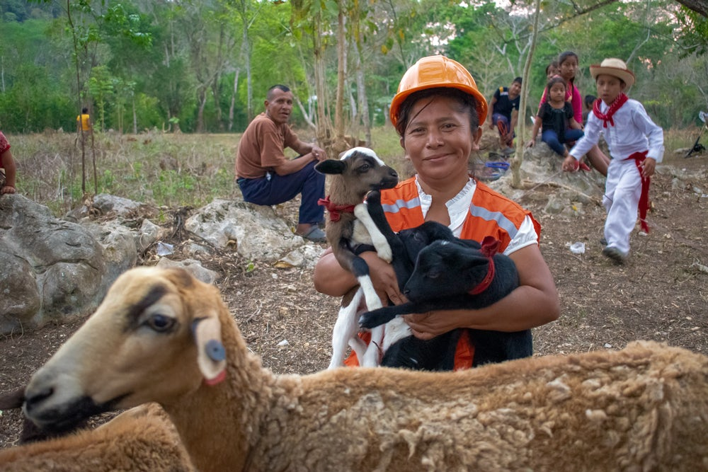 Maria Louisa Vasquez Gabriel holds three lambs in her arms.