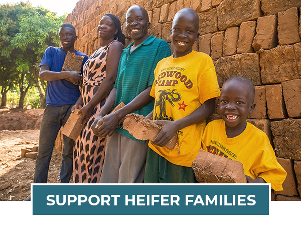 A photo of a family of Heifer project participants