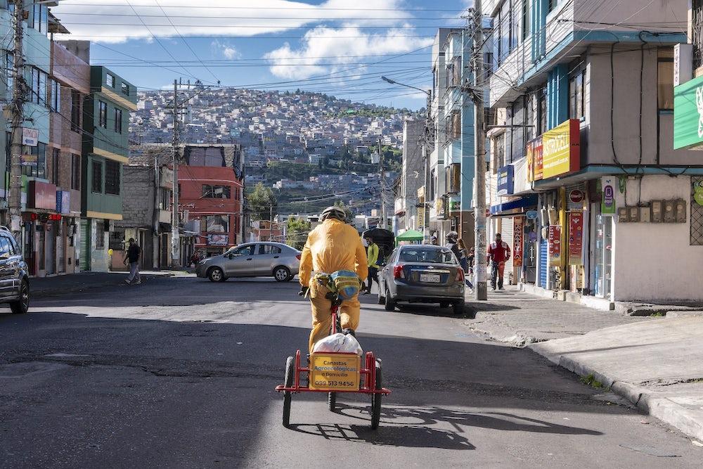 bicycle food delivery in Quito, Ecuador