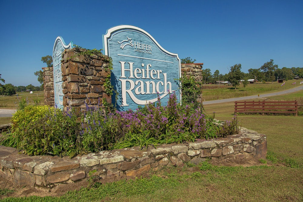 The Heifer Ranch welcome sign