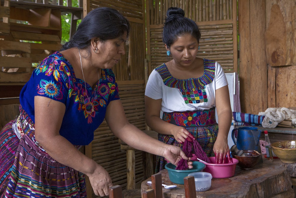 Two women in Guatemala make dye from insects for their business.
