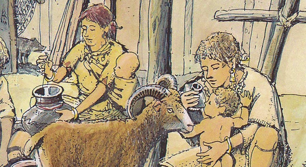 An illustration of a Bronze Age family scene, with a toddler drinking from a ceramic vessel.