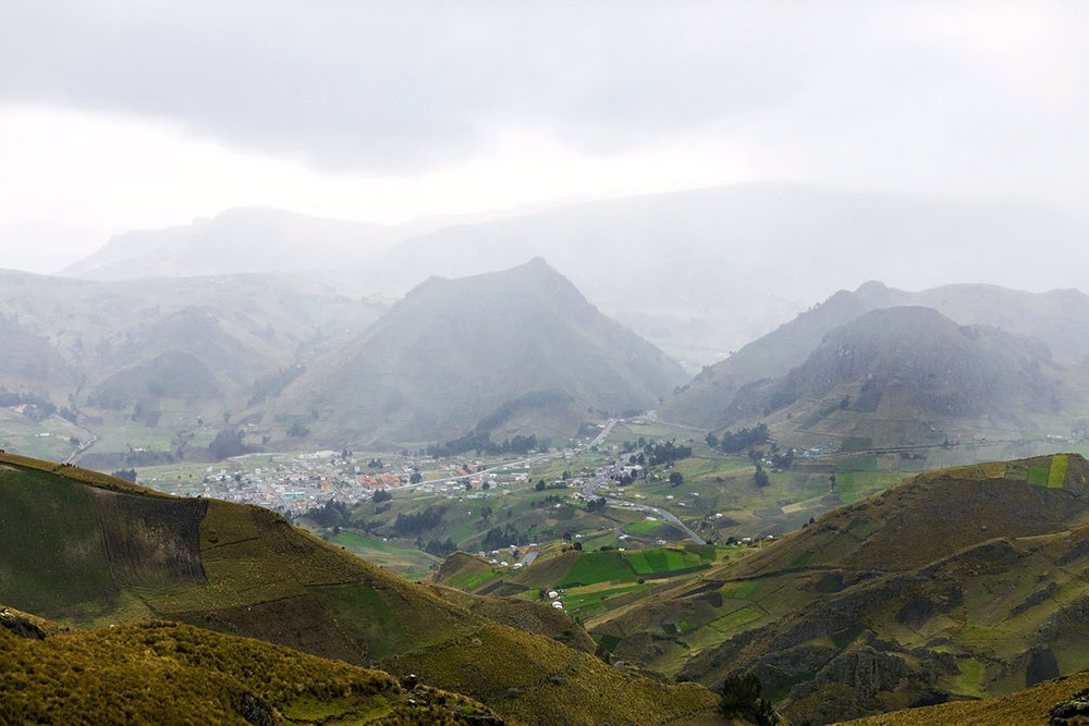 Landscape view of the mountain village of Apahua, Ecuador.