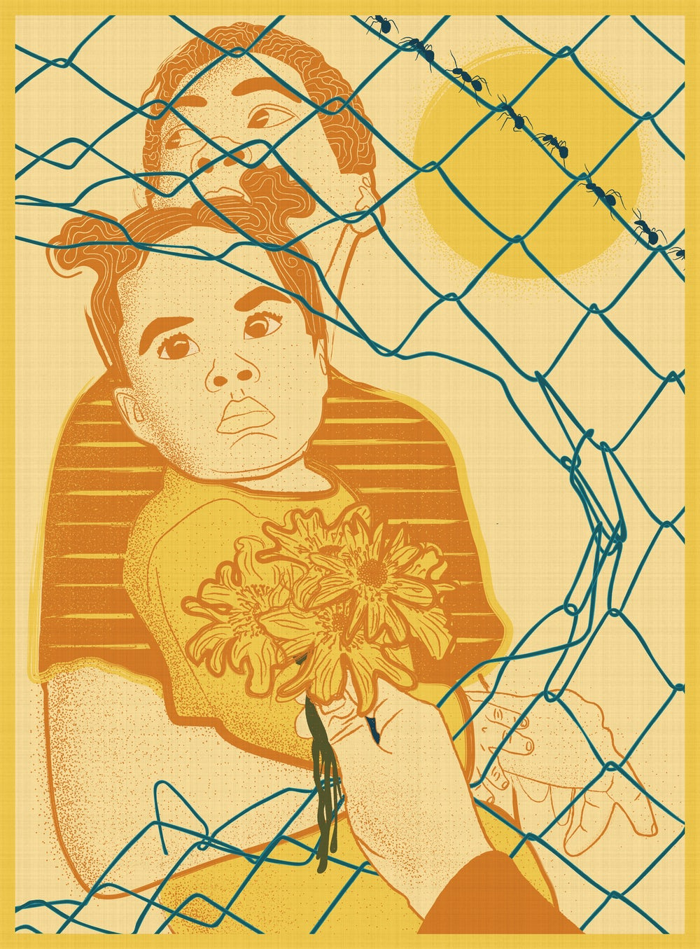 Illustration of a woman holding a small child behind a chain link fence