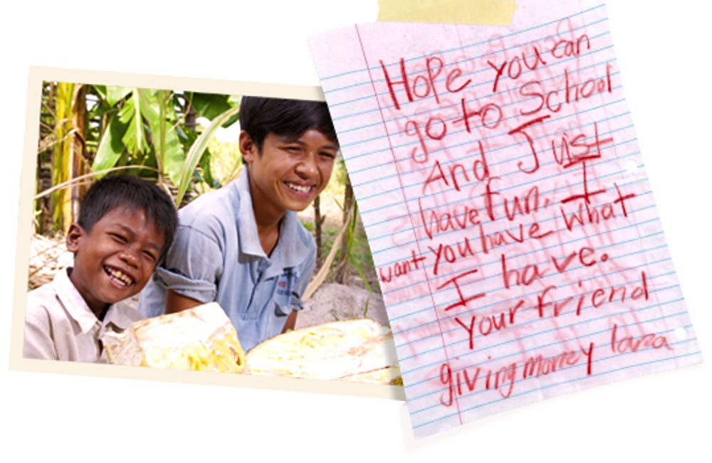 Children helped by read to feed along with a hand-written note from a child.